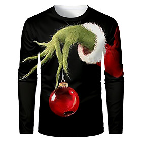 Men's Christmas T-shirt 3D Graphic Long Sleeve Tops Basic Round Neck Black