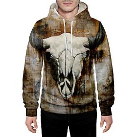 Men's Daily Pullover Hoodie Sweatshirt 3D Graphic Animal Hooded Basic Hoodies Sweatshirts  Long Sleeve Camel