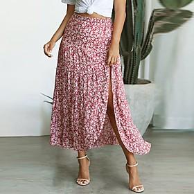 Women's Casual / Daily Basic Asymmetrical Skirts Geometric Ruffle Split Print