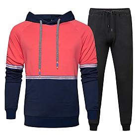 Men's Daily Activewear Set Color Block 2-Piece Hooded Basic Hoodies Sweatshirts  Long Sleeve Yellow Khaki Navy Blue / Sports