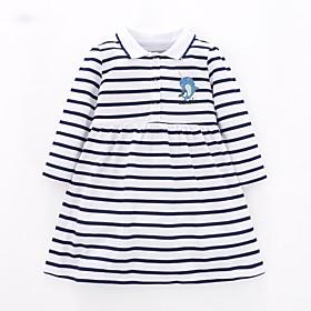 Kids Girls' Basic Blue Striped Long Sleeve Above Knee Dress Blue