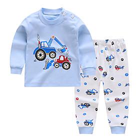 Kids Boys' Basic Daily Cartoon Print Long Sleeve Regular Clothing Set Light Blue