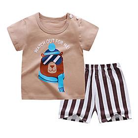 Kids Boys' Basic Daily Cartoon Letter Print Short Sleeve Regular Clothing Set Brown