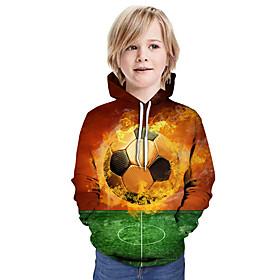 Kids Boys' Active Basic Color Block 3D Graphic Print Long Sleeve Hoodie  Sweatshirt Camel
