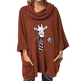 Women's Blouse Shirt Animal Print Cowl Neck Tops Loose Cotton Basic Basic Top Black Brown