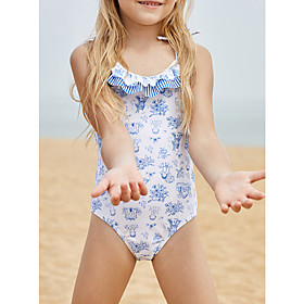 Girls' Cute One-piece Swimsuit Lace up Print Flounced Floral Print Scoop Neck Swimwear Bathing Suits White