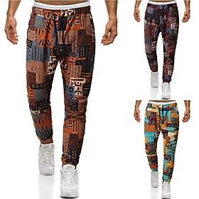 Men's Chinoiserie Folk Style Daily Home Harem Pants Print Multi Color Patterned Tropical Leaf Sun Flower Baggy Drawstring Outdoor Yellow Khaki Navy Blue S M L