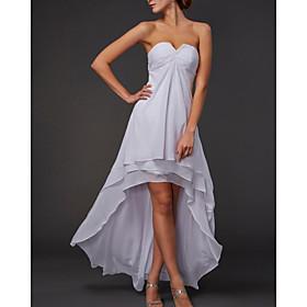 A-Line Elegant Minimalist Engagement Formal Evening Dress Strapless Sleeveless Asymmetrical Chiffon with Tier 2020
