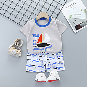 Kids Boys' Basic Daily Cartoon Letter Print Short Sleeve Regular Regular Clothing Set Gray