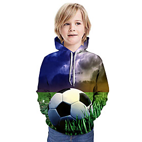 Kids Boys' Active Basic Color Block 3D Graphic Print Long Sleeve Hoodie  Sweatshirt Blue