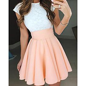 A-Line Beautiful Back Flirty Graduation Cocktail Party Dress Jewel Neck Short Sleeve Short / Mini Chiffon with Pleats 2020