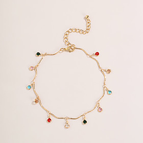 Anklet European Cute Colorful Women's Body Jewelry For Street Prom Tropical Zircon Gold Plated Gold