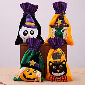 Halloween Party Toys Halloween Gift Bags Trick or Treat Brushed Cloth Bags 4 pcs Skull Skeleton Pumpkin Cartoon Witch Nonwoven Kid's Adults Trick or Treat Hall