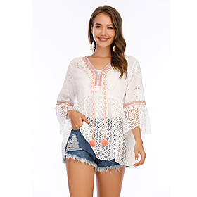 Women's Blouse Shirt Abstract Lace V Neck Tops Loose 100% Cotton Basic Basic Top White
