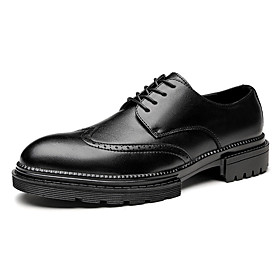 Men's Oxfords Business Daily Walking Shoes Leather Breathable Non-slipping Shock Absorbing Black / Brown Spring / Fall / Square Toe