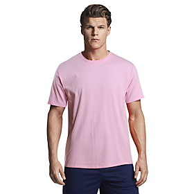 Men's Daily T-shirt Solid Colored Short Sleeve Tops Cotton Basic Round Neck White Black Blue / Sports