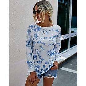 Women's Blouse Shirt Abstract Long Sleeve Print Round Neck Tops Basic Basic Top Black Blue Light Green