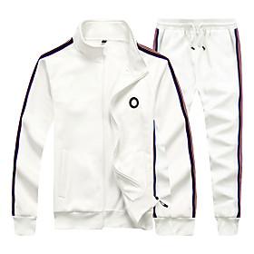 Men's Daily Activewear Set Color Block Casual Streetwear Hoodies Sweatshirts  Long Sleeve White Black Blue
