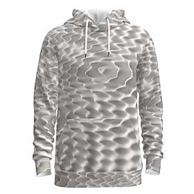 Men's Daily Pullover Hoodie Sweatshirt 3D Abstract Graphic Hooded Basic Hoodies Sweatshirts  Long Sleeve Light gray