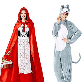 Little Red Riding Hood Cosplay Costume Party Costume Adults' Men's Cosplay Halloween Halloween Festival / Holiday Polyester Red Men's Women's Easy Carnival Cos