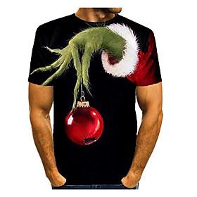 Men's Christmas T-shirt 3D Graphic Short Sleeve Tops Basic Round Neck Black