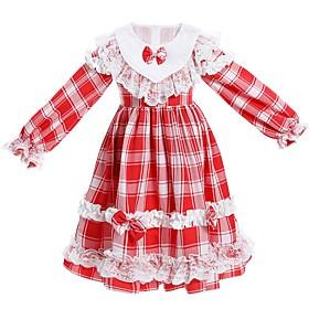 Kids Girls' Basic Blue Red Houndstooth Long Sleeve Knee-length Dress Blue
