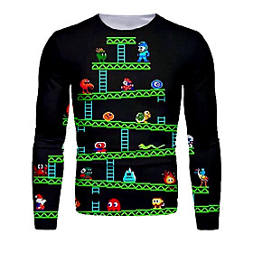 Men's Christmas T-shirt 3D Graphic Long Sleeve Tops Basic Round Neck Green / Black