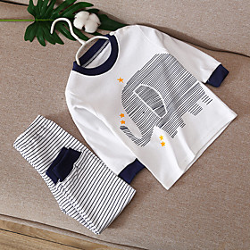 Kids Boys' Basic Daily Cartoon Print Long Sleeve Regular Clothing Set White