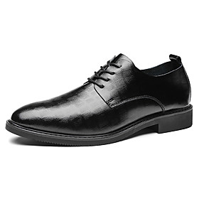Men's Oxfords Business Daily Walking Shoes Leather Shock Absorbing Wear Proof Booties / Ankle Boots Black / Brown Fall / Square Toe