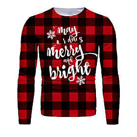 Men's Christmas T-shirt 3D Graphic Letter Long Sleeve Tops Basic Round Neck Black / Red