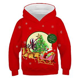 Kids Boys' Active Basic Deer Santa Claus 3D Animal Christmas Print Long Sleeve Hoodie  Sweatshirt Red