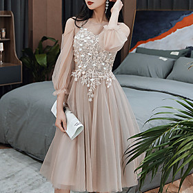 A-Line Color Block Floral Homecoming Cocktail Party Dress Illusion Neck Long Sleeve Knee Length Tulle with Tassel Appliques 2020