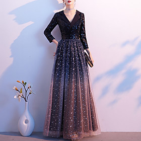 A-Line Color Block Sparkle Wedding Guest Formal Evening Dress V Neck 3/4 Length Sleeve Floor Length Tulle Sequined with Sequin 2020