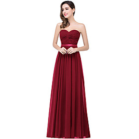 A-Line Elegant Minimalist Wedding Guest Formal Evening Dress Strapless Sleeveless Floor Length Chiffon with Pleats 2020