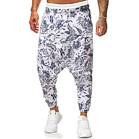 Men's Chinoiserie Folk Style Daily Home Harem Pants Pattern Black  Red Sun Flower Fantastic Beasts Baggy Print Outdoor White Red Yellow M L XL