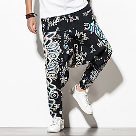 Men's Chinoiserie Folk Style Daily Home Harem Jogger Pants Print Pattern Black  Red Sun Flower Rose Baggy Print Outdoor Black Blue Red M L XL