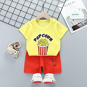 Kids Boys' Basic Daily Cartoon Letter Print Short Sleeve Regular Regular Clothing Set Yellow