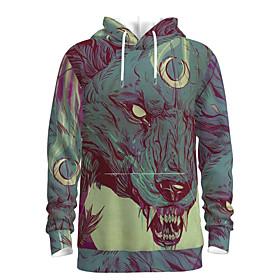 Men's Daily Pullover Hoodie Sweatshirt 3D Graphic Animal Hooded Basic Hoodies Sweatshirts  Long Sleeve Light Green