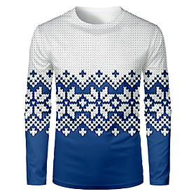 Men's Christmas T-shirt Color Block 3D Graphic Long Sleeve Tops Basic Round Neck Blue / White