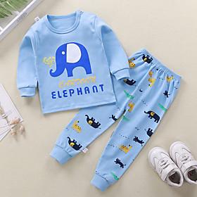 Kids Boys' Basic Daily Cartoon Letter Print Long Sleeve Regular Clothing Set Blue