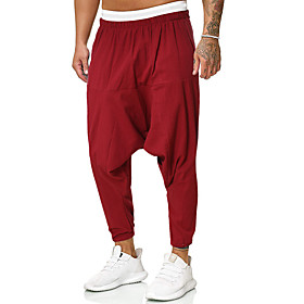 Men's Chinoiserie Folk Style Daily Home Harem Pants Solid Colored Black Red Baggy Drawstring Outdoor Black Red Light Green M L XL