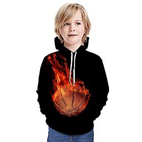 Kids Boys' Active Basic 3D Paisley Graphic Print Long Sleeve Hoodie  Sweatshirt Black