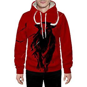 Men's Daily Pullover Hoodie Sweatshirt 3D Graphic Animal Hooded Basic Hoodies Sweatshirts  Long Sleeve Red