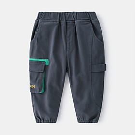 Kids Boys' Basic Letter Print Pants Army Green