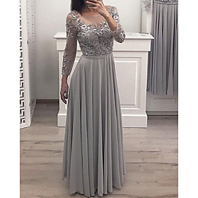 A-Line Elegant Floral Engagement Formal Evening Dress Illusion Neck Long Sleeve Floor Length Chiffon Lace with Pleats Appliques 2020