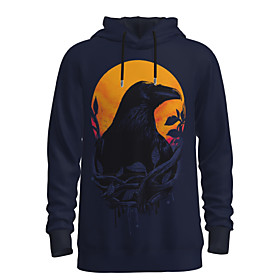 Men's Daily Pullover Hoodie Sweatshirt 3D Graphic Animal Hooded Basic Hoodies Sweatshirts  Long Sleeve Blue