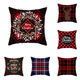 1 Set of 6 pcs Christmas Series Decorative Linen Throw Pillow Cover 18 x 18 inches 45 x 45cm For Home Decoration Christmas Decoration