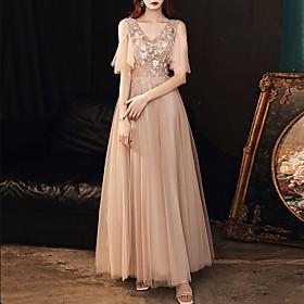 A-Line Elegant Floral Wedding Guest Prom Dress V Neck Short Sleeve Floor Length Tulle with Crystals Appliques 2020