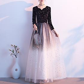 A-Line Glittering Minimalist Wedding Guest Formal Evening Dress V Neck Long Sleeve Floor Length Tulle Velvet with Sequin 2020