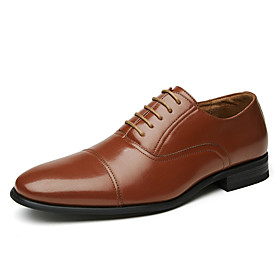 Men's Oxfords Business Daily Walking Shoes Leather Shock Absorbing Wear Proof Brown Spring / Fall / Square Toe